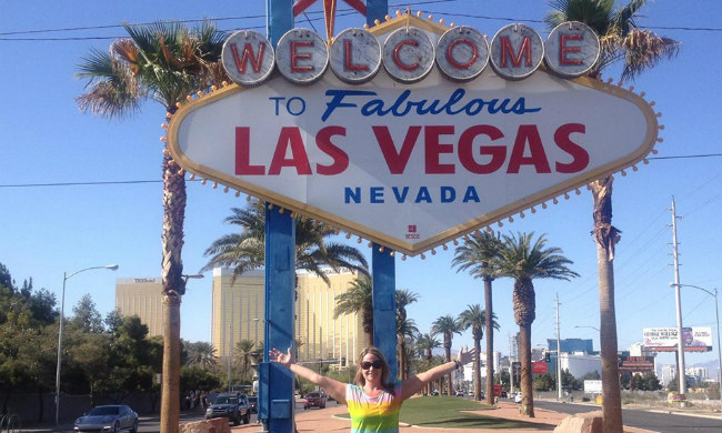 Sue with Vegas sign