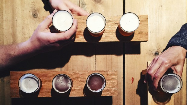 Craft beers on a wood table