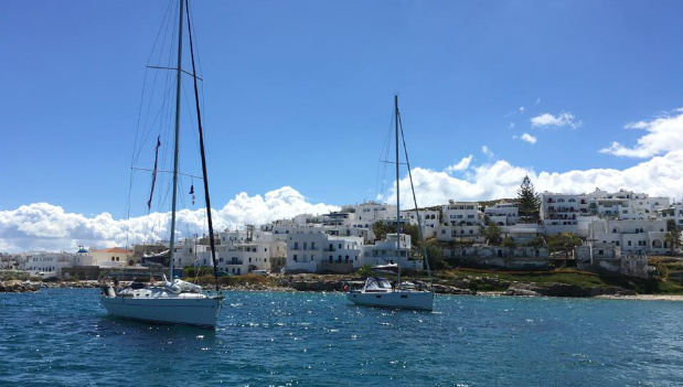 Two sailboats in the Greek Islands