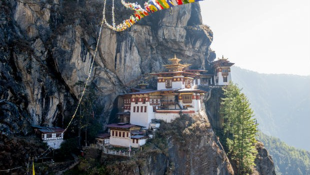 Bhutan temples in the mountains