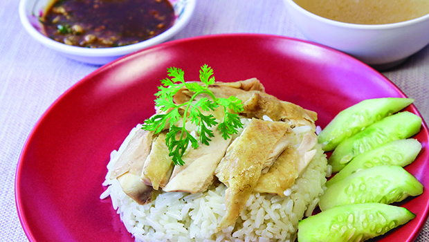 Oiled rice with steamed chicken, Food Staple, Hainanese, Singapore.
