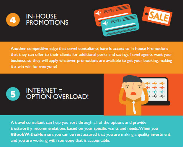 reasons why you should book with a travel consultant, in house promotions and no internet option overload