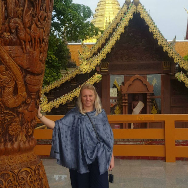 ricki by temple in thailand