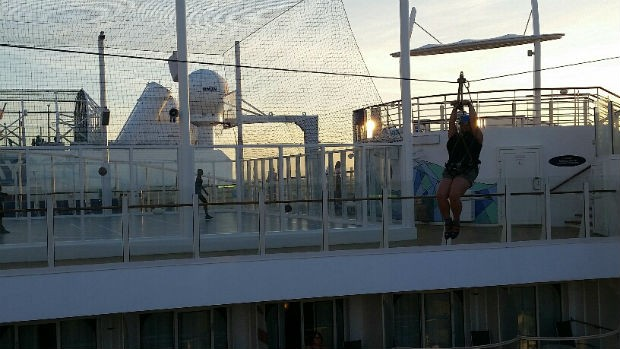 woman ziplining on cruise ship