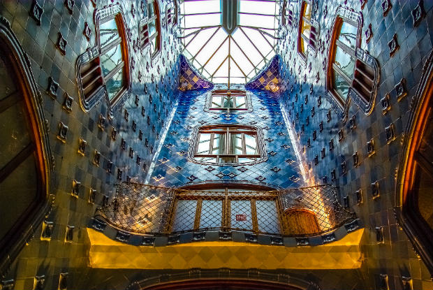 inside gaudi's casa batllo in barcelona spain