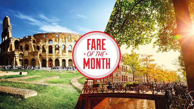 fare of the month klm amsterdam rome flight centre