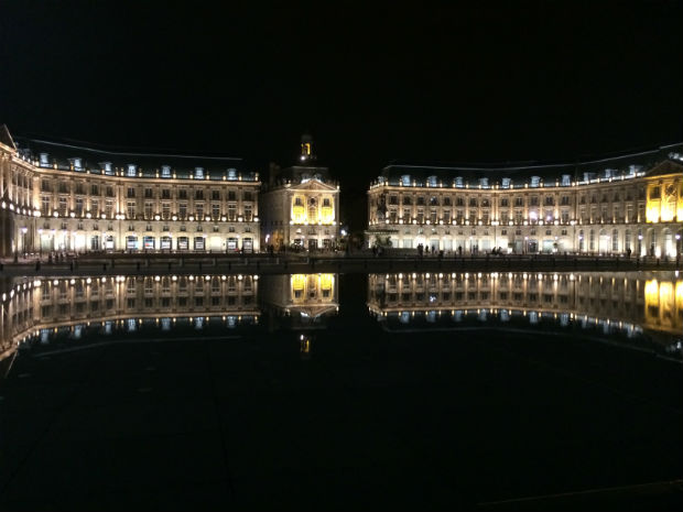 building in bordeaux, france at night