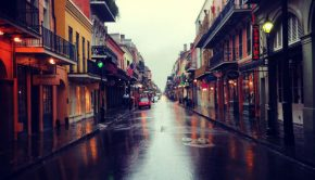 rain on rue royale in the french quarter in new orleans, louisiana