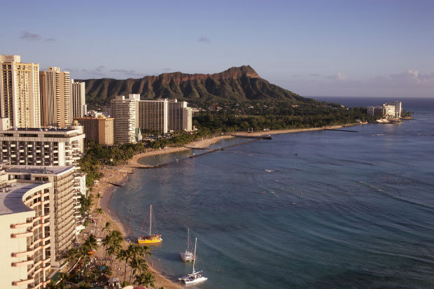 diamond head and waikiki beach, honolulu, oahu, hawaii