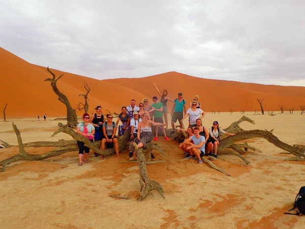 namibia safari group shot