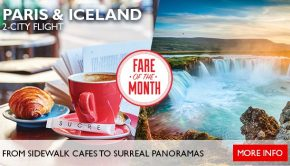fare of the month paris and iceland