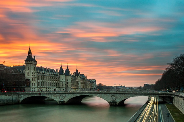 paris architecture france tourism sunset seine river flight deals