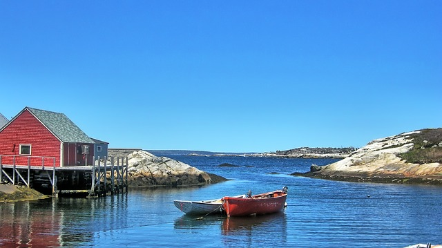 peggys cove nova scotia beautiful harbour fishing boat