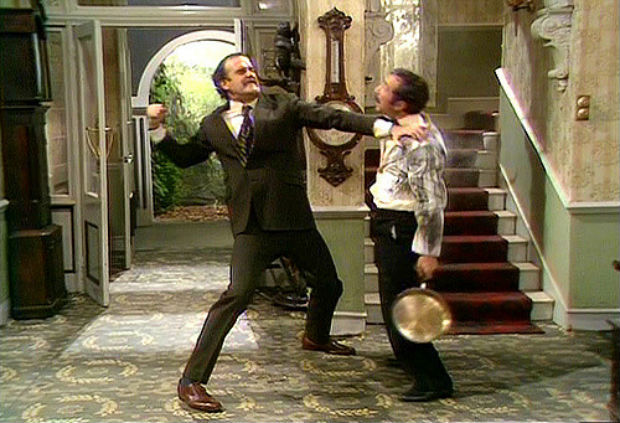 basil fawlty towers manuel language barrier translation app punching man in face