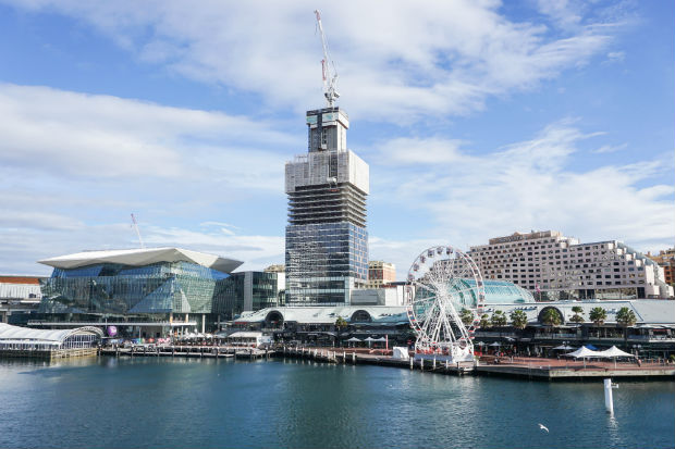 view from darling harbour in sydney australia