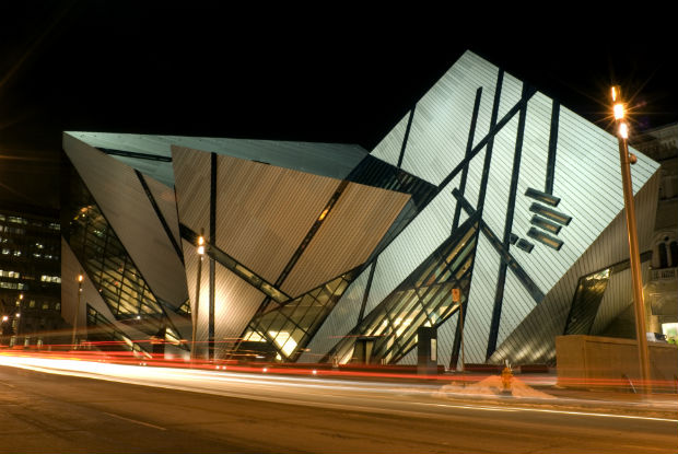the rom in toronto at night