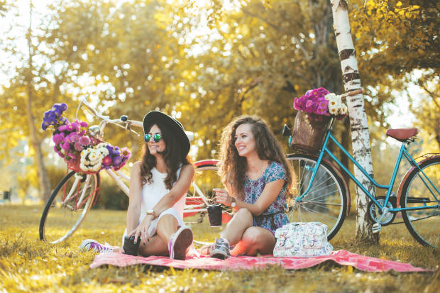 friends at a picnic with bicycles