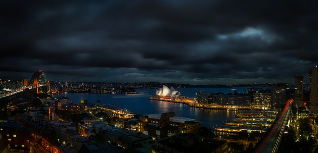sydney opera house australia city view harbour bridge at night south pacific and asia