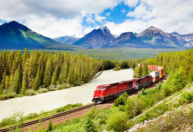 train passing through the rockies