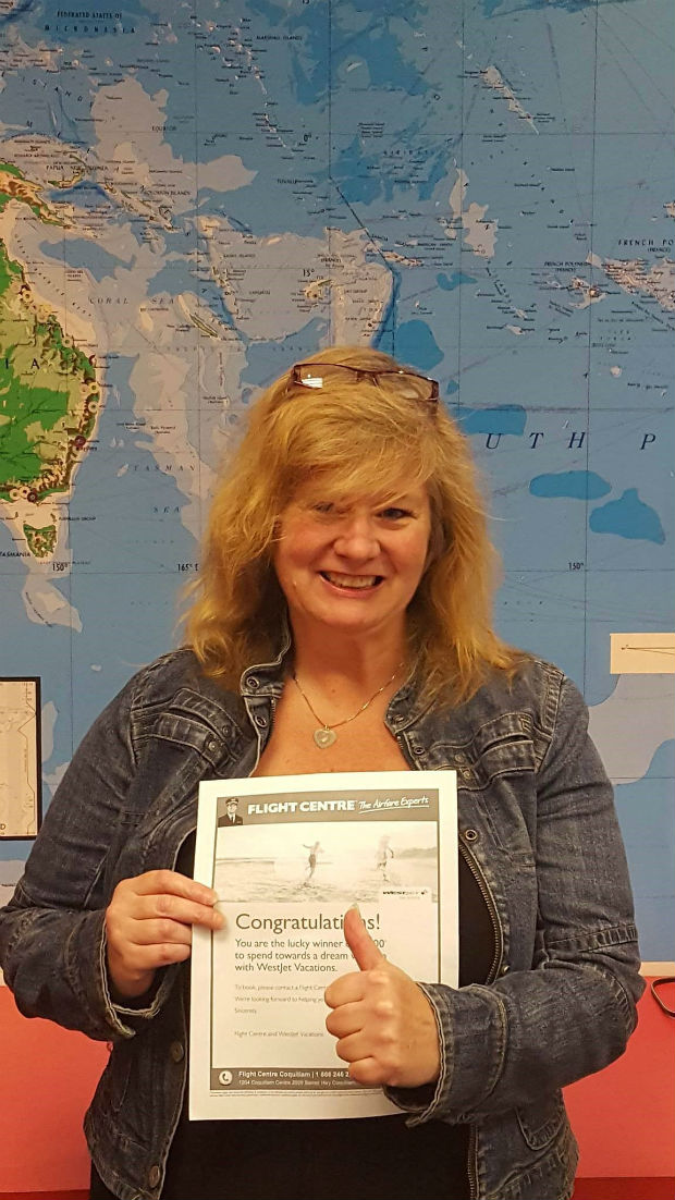 flight centre travel contest winner debbie port moody bc westjet vacations