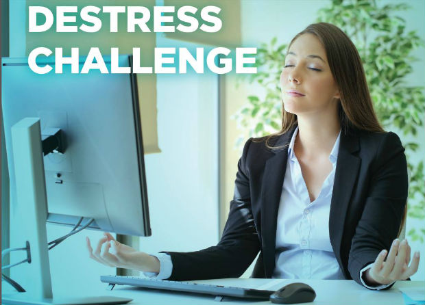 healthwise flight centre stress reduction challenge destress woman meditates at desk