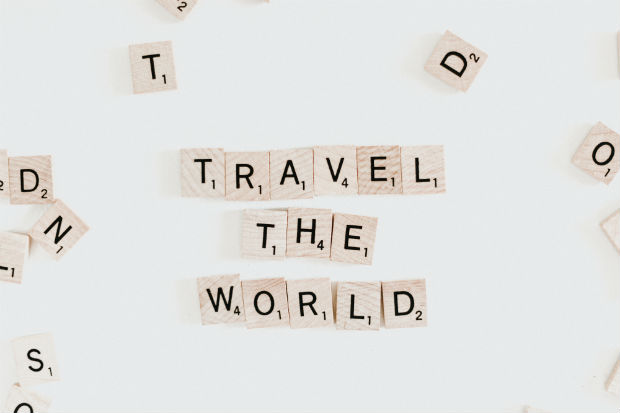travel the world scrabble tiles stylish photography