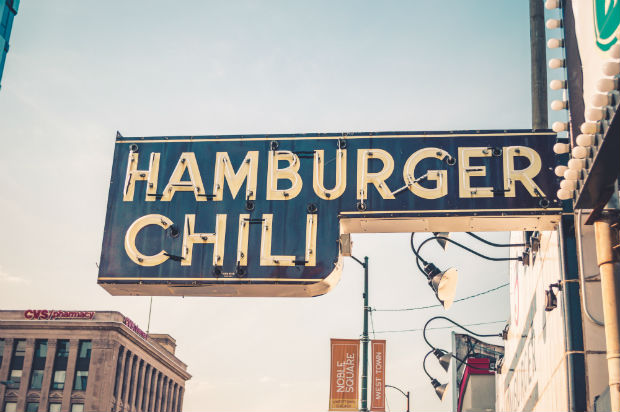 airlines weigh travel foodie hamburger chili sign in chicago