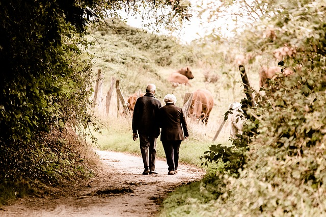 older couple holding hands by a farm