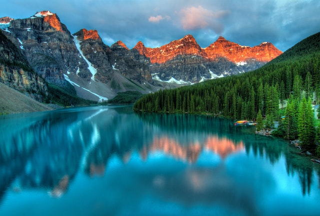 banff alberta stunning mountains orange sunlight aqua blue