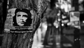 poster of che guevara on a tree in black and white