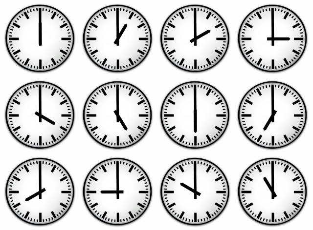 clocks in different time zones