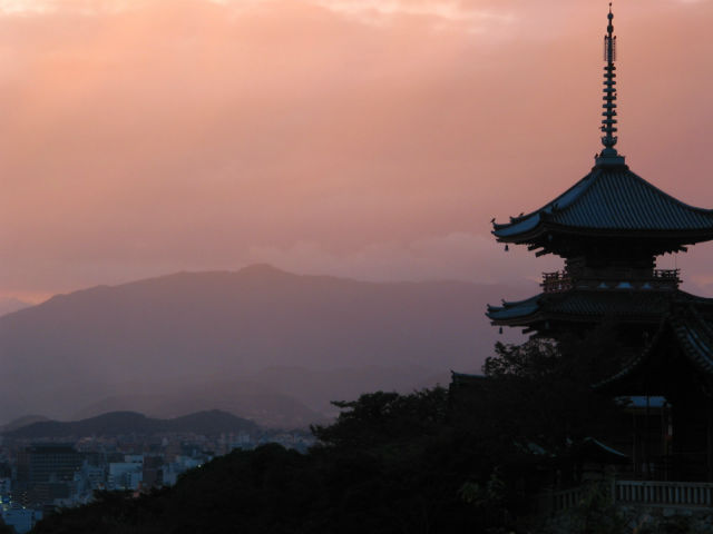 temple in kyoto japan at dusk