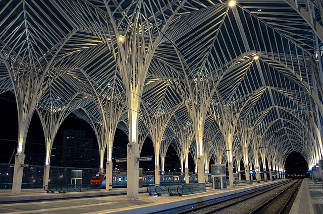 train station in lisbon portugal at night