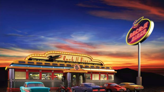 classic american diner at dusk