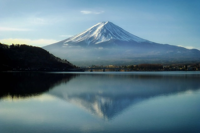 mount fuji summer in japan blue sky peaceful mountain reflected in water