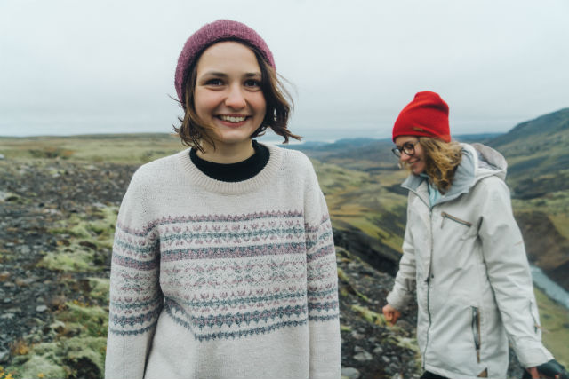 girls on a hill in iceland