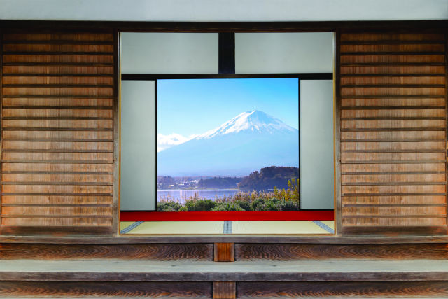view of mount fuji from a ryokan in japan