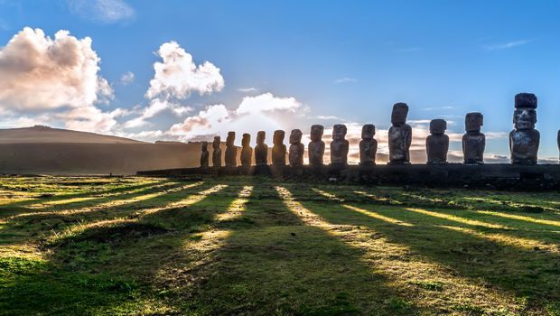 moai statues in easter island chile
