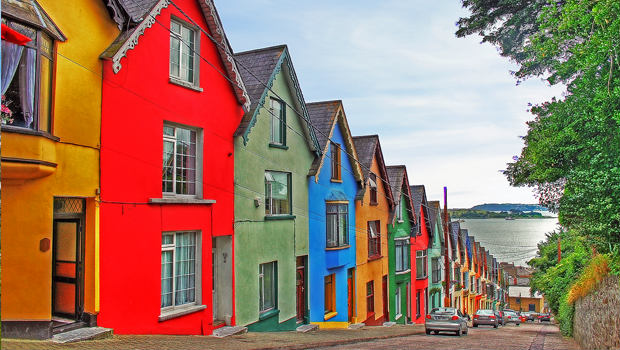 rows of colourful houses in ireland