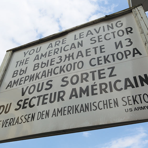 checkpoint charlie signage in berlin