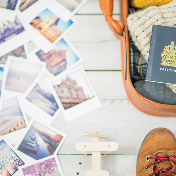 polaroid photos and a passport