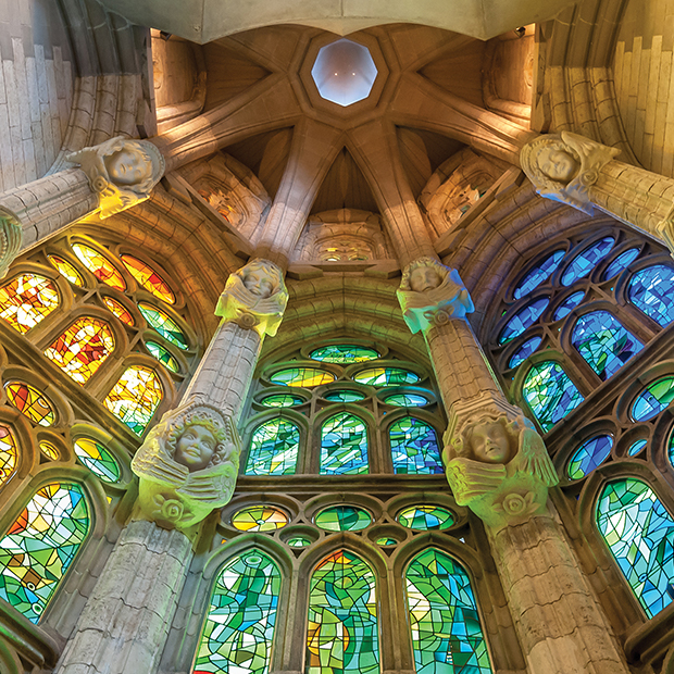 stained glass windows at la sagrada familia