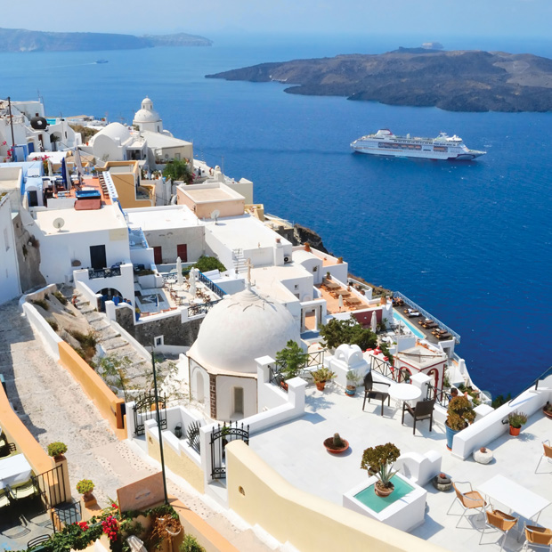 cruise ship passing the greek islands