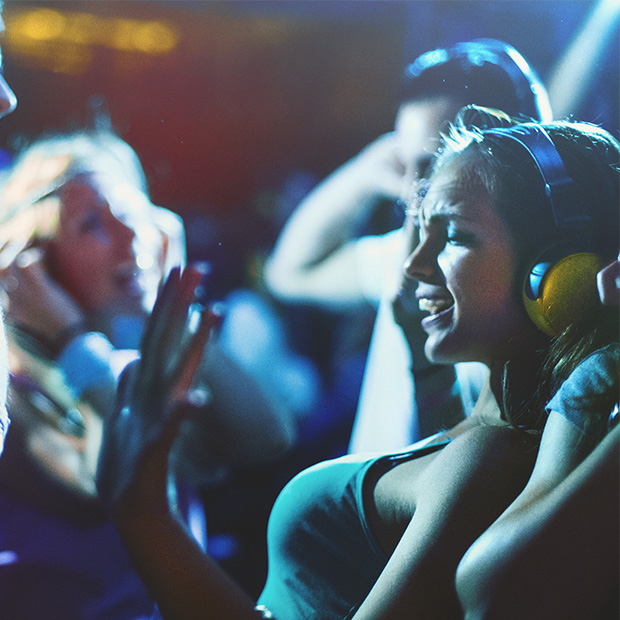 woman at a silent disco