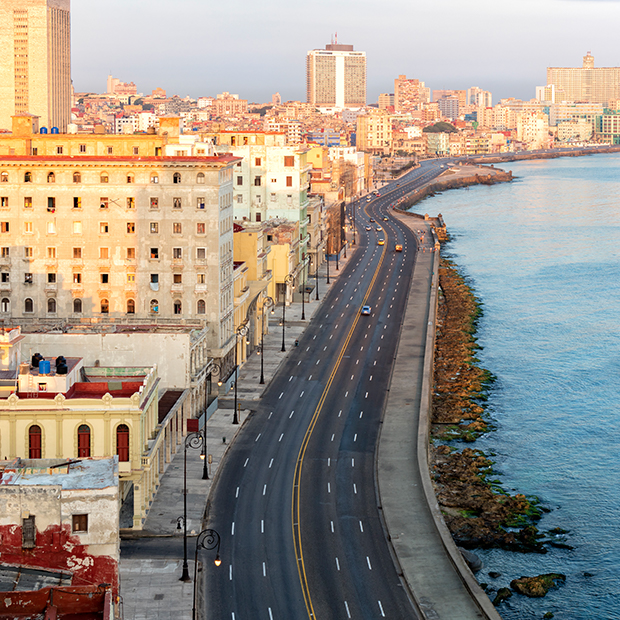 aerial view of el malecon in cuba