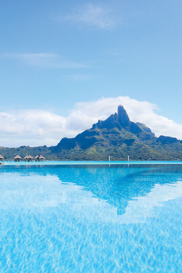 mount otemanu and overwater bungalows in bora bora