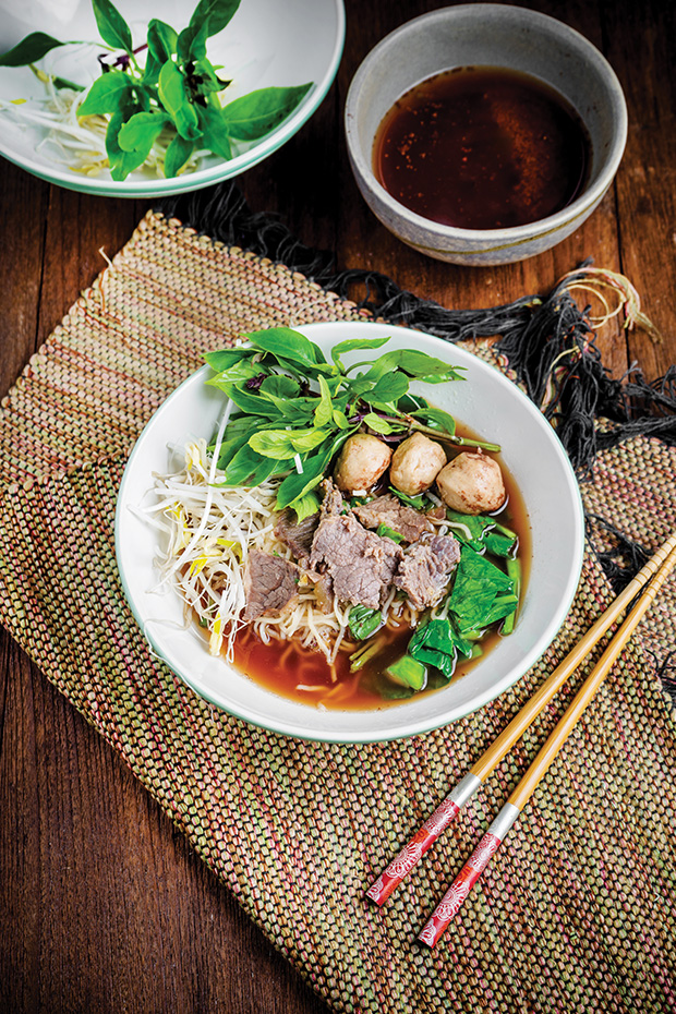Kway Teow noodle soup traditional thai food