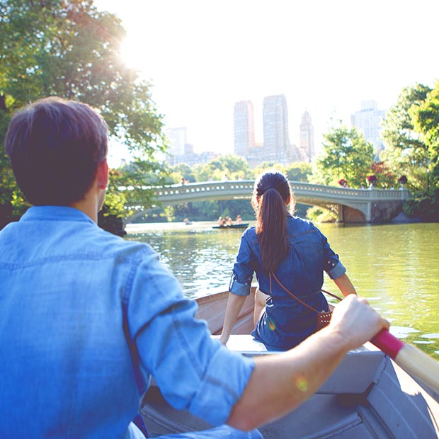 couple on a boat in central park
