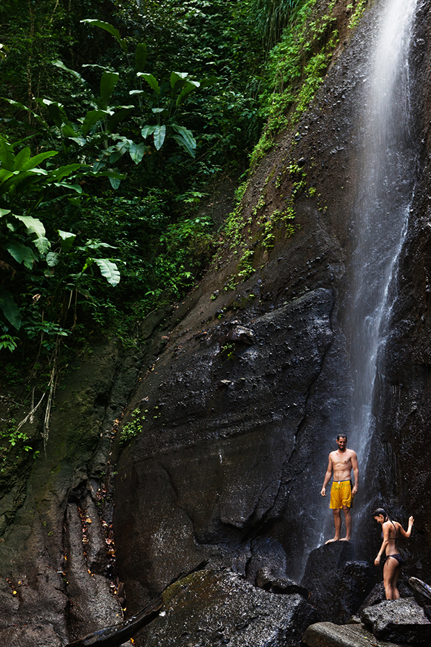couple at waterfall in St Lucia