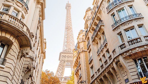 beautiful-morning-view-of-the-eiffel-tower-between-to-Paris-buildings-in-foreground